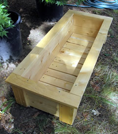 Planter boxes are used for container gardening.